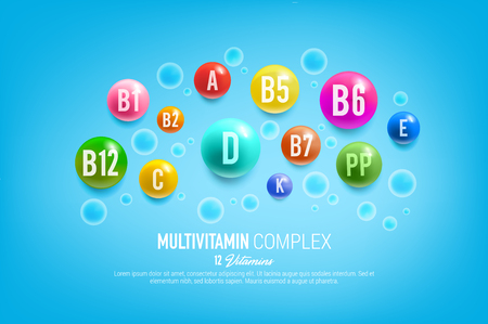 Vitamin complex poster for healthy food and nutrition. Vector 12 multivitamins capsules and minerals pills of dietary supplement for pharmacy advertisement or vitamins package design