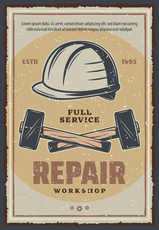 Repair service or workshop poster of construction and home renovation or woodwork tools. Vector retro design of hammers and repairman or worker safety helmet with bolts, screws and nuts