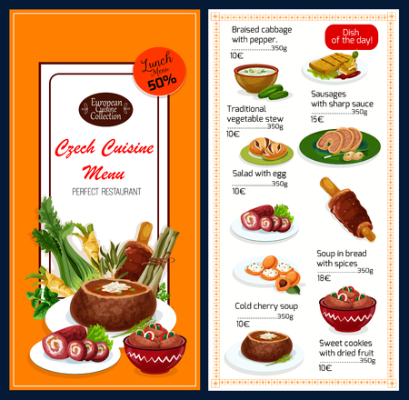 Czech cuisine traditional food menu. Vector lunch offer discount for braised cabbage with pepper, vegetable stew or sausages with sauce and egg salad, cold cherry soup in bread or sweet cookies Ilustração