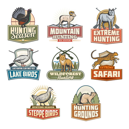 Hunting open season icons of wild animals and birds for safari hunt adventure. Vector set of African panther cheetah or cougar leopard, pheasant grouse or fox and mountain goat, wolf or fox and sable