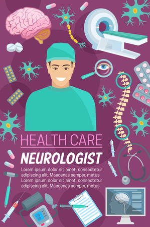 Neurology healthcare or neurologist clinic poster. Vector design of neurology medicine treatments and surgery doctor items for brain tomography of MRI scanner, spine joints or nerves and neural cells