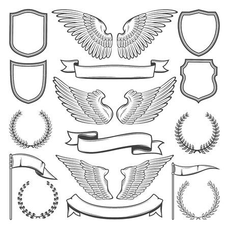 Constructor de iconos heráldicos de alas de pájaro, escudos o cintas y laurel. Conjunto de bocetos aislados vectoriales de símbolos de heráldica para diseño o tatuaje de lujo y prima real