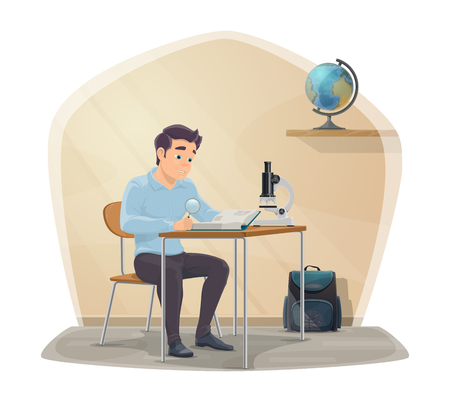 Student in classroom study biology with microscope or reading book. College or school boy in class with bag and geography globe on shelf for Back to School season vector design Illustration