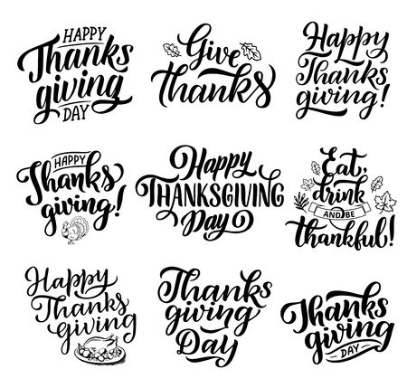 Happy Thanksgiving day lettering calligraphy for greeting card design. Vector holiday wish quotes for Thanks, Be Grateful with turkey dish, autumn leaf and ribbons