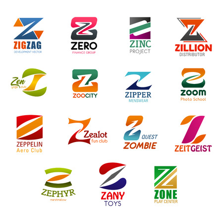 Letter Z icons for business company and corporate design. Vector Z symbols for development, finance or trade project, menswear and club or distributor center and photo school