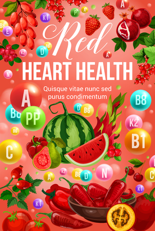 Red diet for heart health nutrition and natural food eating program. Vector poster of vitamins and minerals or multivitamin complex in red organic vegetables and farm fruits or berries
