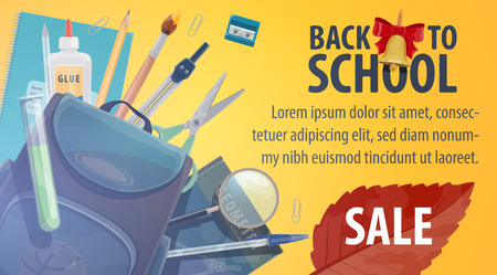 Back to School sale promo poster for autumn store trade season. Vector advertisement design of school stationery, student school bag, pencil or pen and lesson books with bell and September leaf Standard-Bild - 111770309