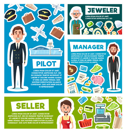 Manager, pilot or jeweler and seller professions in aviation, trade or jewelry and business industry. Vector cartoon men with airplane or travel bags and credit card of finance money and gemstones