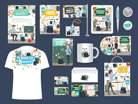 Back to School education and study promo stationery mockups. Vector advertisement materials notebook, T-shirt or flag and cup mug, pen or badge and envelope for office supplies with school design
