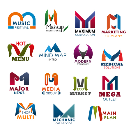 Letter M icons modern design for company, brand name and business corporate identity. Vector abstract M for music festival, makeup studio or maximum corporation and marketing or medical technology Stock Illustratie