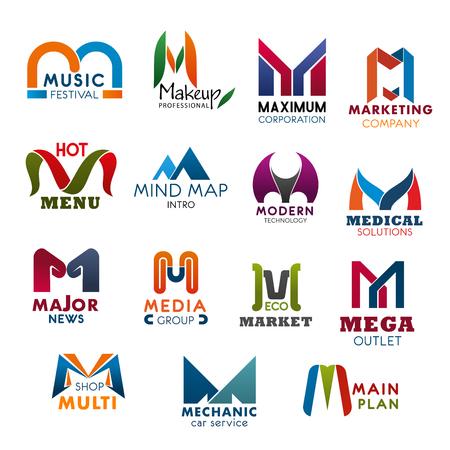 Letter M iconen modern ontwerp voor bedrijf, merknaam en zakelijke huisstijl. Vector abstract M voor muziekfestival, make-up studio of maximale corporatie en marketing of medische technologie Vector Illustratie