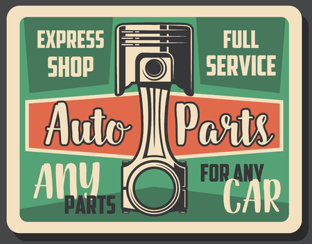 Car spare parts express shop or full mechanic and diagnostic service advertisement retro poster. vector vintage design of automobile engine valve for transport repair garage station Stok Fotoğraf - 111770312