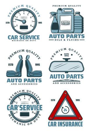 Autodienstpictogrammen voor auto-onderdelenopslag en monteur reparatie op garagetransportstation. Vectorsymbolen van autosnelheidsmeter, motorchemicaliën van olie, koelvloeistof en bestuurdersverzekering