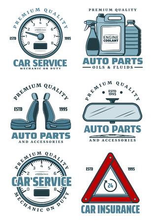 Car service icons for auto parts store and mechanic repair on garage transport station. Vector symbols of car speedometer, engine chemicals of oil, coolant and driver insurance Stock Vector - 106956142