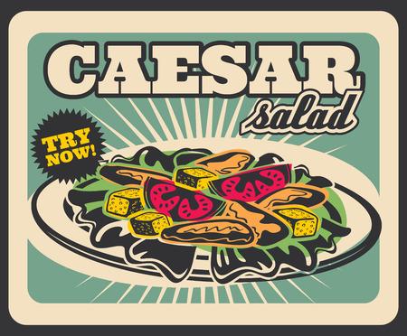 Cartel retro del menú de ensalada César para publicidad de restaurante de comida rápida. Diseño vintage de vector de ensalada de verduras con pollo para entrega de comida rápida o café bistro para llevar Ilustración de vector
