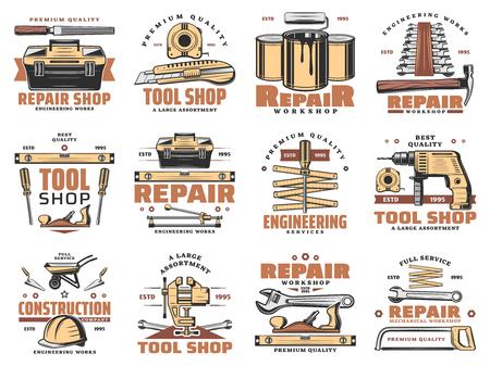Reparieren Sie Arbeitswerkzeuge und Symbole für Schreiner- oder Ingenieurdienstleistungen. Vektorsatz Arbeitersicherheitshelm, Schraubenschlüssel oder Schraubenschlüssel und Hammer, Pinsel und Holzsäge mit Schleifmaschine für Werkzeugwerkstatt