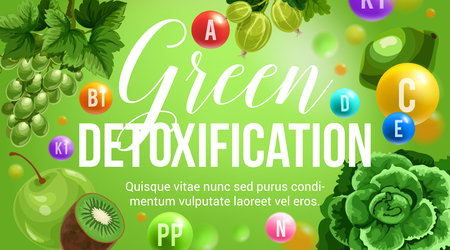 Green diet healthy eating and detoxification nutrition program. Vector poster of vitamins and minerals in green vegetable salads food, berries and tropical exotic fruits