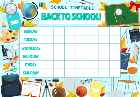 School timetable for week lessons. Vector blackboard design of stationery and books for algebra, geometry or mathematics and literature with sport training for Back to School education season