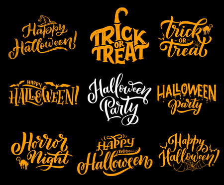 Happy Halloween lettering calligraphy for greeting cards design. Vector Halloween trick and treat party or horror night celebration of pumpkin in witch hat, cat or bat and spider in web Ilustracja
