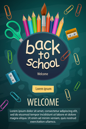 Back to School poster for education September season. Vector welcome to school design of study stationery color pencils, paint brush and paper clip with sharpener for autumn sale design