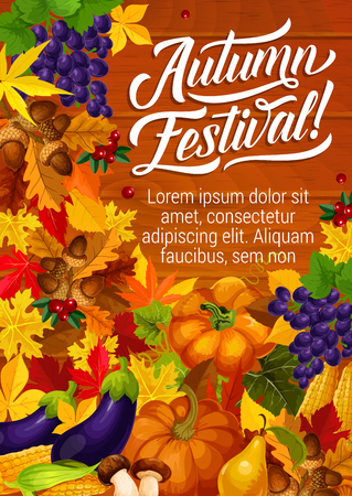 Autumn festival poster for seasonal holidays or celebration invitation. Vector autumn harvest of leaf fall with pumpkin or corn and eggplant, grape fruit and cranberry berry on wooden background Illustration