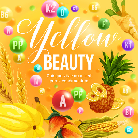 Yellow color beauty diet poster for healthy eating and detoxification nutrition program. Vector vitamins and minerals in yellow vegetable food, cereals and tropical exotic fruits