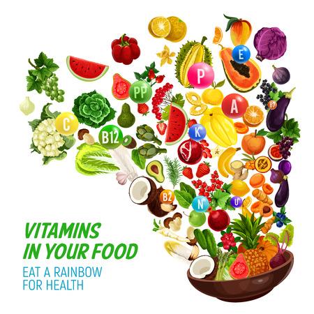 Dieta color arcobaleno per un'alimentazione sana e un programma alimentare naturale. Vector vitamine e minerali complessi in verdure biologiche, insalate o frutta e bacche, nus e spruzzi di cereali Archivio Fotografico - 106956149