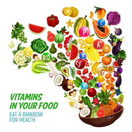 Rainbow color diet for healthy nutrition and natural food eating program. Vector vitamins and minerals complex in organic vegetables, salads or fruits and berries, nus and cereals splash Illustration