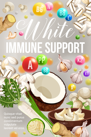 White diet for immune support, healthy eating and detox nutrition program. Vector poster of vitamins and minerals in white vegetable salads food, mushroom and plant roots or nuts Illustration