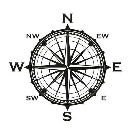 Nautical navigation compass or Rose of Winds navigator with direction arrows. Vector marine sailing cartography symbols with pointers to East, West or North and South
