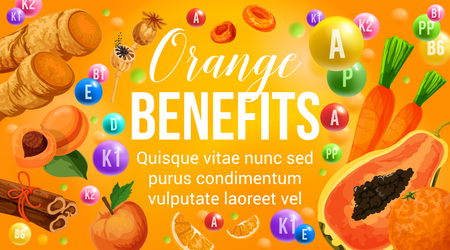 Orange diet food vitamins in natural fruits and vegetables for healthy nutrition and organic food eating program. Vector poster of orange citrus, papaya or apricot and ginger with cinnamon