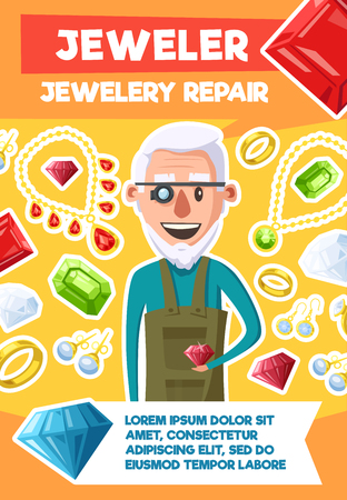 Jeweler or jewelry repair profession poster of old man expert and bijou gemstones. Vector cartoon design of gems, golden rings and necklaces, diamond earrings with ruby, sapphire and emerald crystals