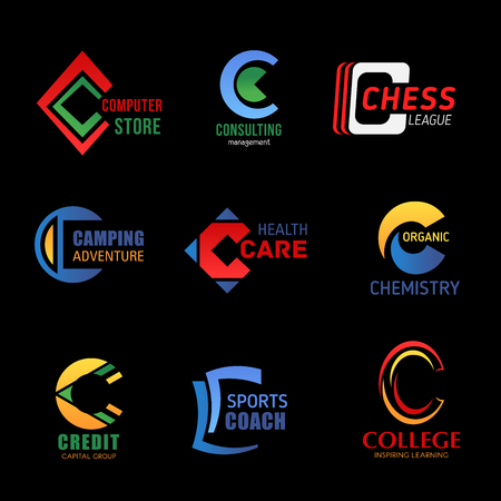 Letter C icons composition for company and business design. Vector trend M for computer store, consulting management or chess sport league and camping adventure agency Illustration