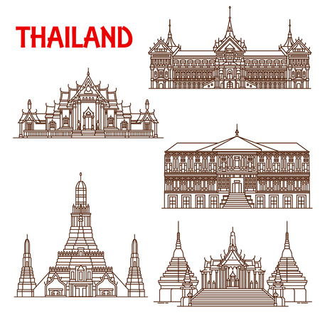 Thailand famous historic architecture buildings and temples. Vector thin line facades of Bangkok Wat Phra Kaew temple, Royal Palace or Vimanmek and Benchamabophit Dusitvanaram or Arun