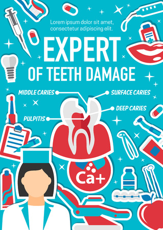 Dental treatment and dentistry surgery clinic poster for medical center. Vector design of dentist doctor and tooth cavity caries damage and restoration equipment of implants and orthodontic braces