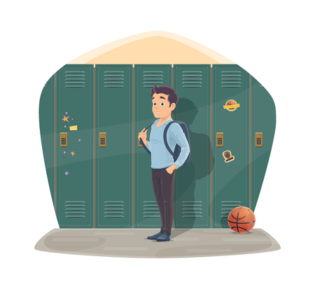 Pupil in locker room with school bag and basketball ball. Vector design for Back to School season of college boy with backpack for gymnasium training