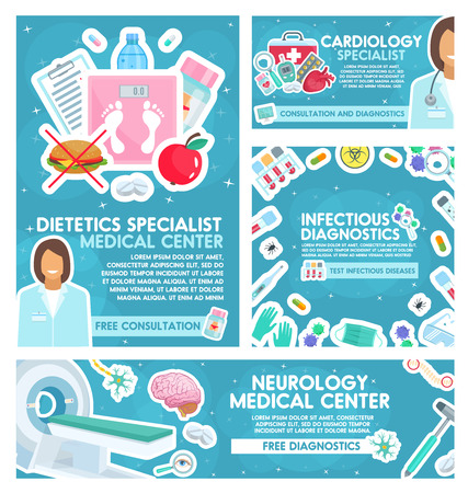 Cardiology or neurology clinic and dietetics or infectious disease diagnostics medical center posters. Vector cardiologist, neurologist or diet doctor specialists with treatment items