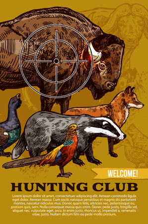 Hunting club welcome poster for hunter club or hunt open season. Vector sketch design of wild animal trophy prey with African Safari buffalo, grouse or pheasant bird, fox and badger