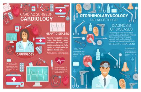 Poster für die medizinische Klinik für Kardiologie und Hals-Nasen-Ohrenheilkunde. Vektorkardiologe, Chirurg und HNO-Ärzte mit Herzchirurgie und Behandlungsgegenständen für Herzerkrankungen Vektorgrafik
