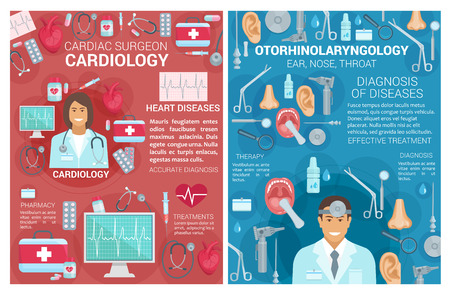 Cardiology and otorhinolaryngology medical clinic posters. Vector cardiologist surgeon and otolaryngologist doctors with cardiac surgery and heart disease treatment items