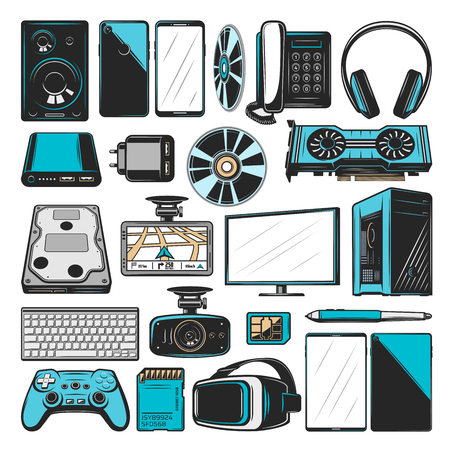 Electronics, computers or multimedia and smart devices icons. Vector PC monitor or desktop computer with Hi-Fi audio loudspeaker, VR glasses and console joystick with graphic adapter and smartphone