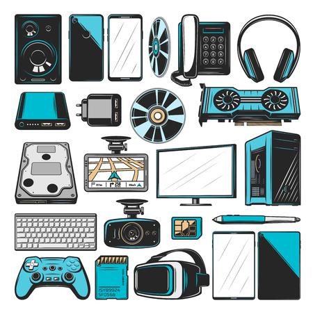 Icônes de l'électronique, des ordinateurs ou des appareils multimédias et intelligents. Moniteur PC vectoriel ou ordinateur de bureau avec haut-parleur audio Hi-Fi, lunettes VR et joystick de console avec adaptateur graphique et smartphone
