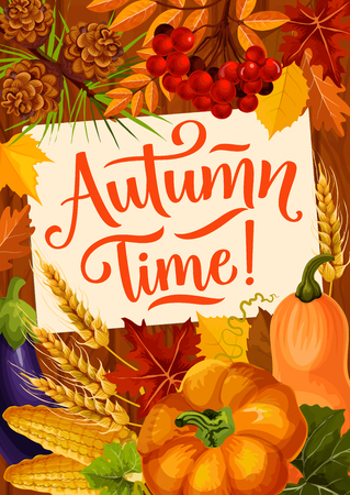 Autumn Time quote poster for harvest reap season and fall holidays celebration. Vector autumn foliage of maple leaf, pumpkin or eggplant and corn vegetables with wheat, pine cones and rowan berries