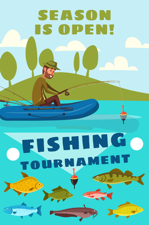 Visserij- en recreatieposter voor visserstoernooien en visvangstseizoenavontuur. Vector cartoon ontwerp van visser man in opblaasbare boot op meer of rivier met karper, zalm of snoek op hengel haak