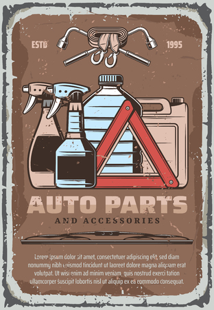 Car parts and auto accessories and chemistry fluids store retro poster. Vector vintage design of autoglass cleaner sprayer, lug wrench and emergency stop sign with tow hooks and windshield scraper