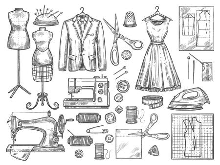 Schneider- oder Schneiderarbeiten und Modedesigner-Atelier-Skizzenartikel. Vektor-Nähmaschine oder Näherin-Muster schneiden und kleiden passende Schaufensterpuppe mit Faden, Nadel oder Fingerhut und Bügeleisen