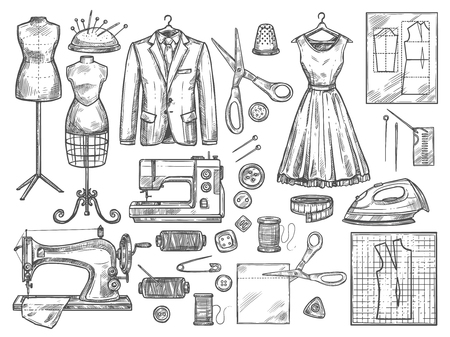 Tailor or dressmaker work and fashion designer atelier sketch items. Vector sewing machine or seamstress pattern cut and dress fitting dummy mannequin with thread, needle or thimble and iron Иллюстрация