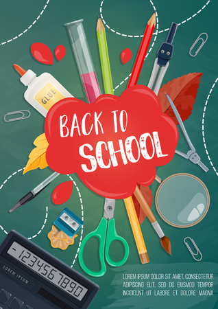 Back to School poster of mathematics, geometry and chemistry lesson stationery. Vector color pencils, chemical test beaker or calculator and scissors with paint brush for autumn school sale design