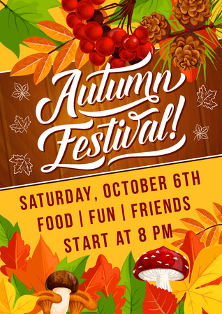 Autumn festival or fall holiday picnic invitation poster. Vector Vector design of autumn maple, rowan berry and maple leaf with oak acorn and pine cones or amanita mushroom for autumn season celebration
