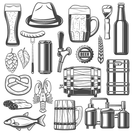 Beer brewery, snacks and craft brewing production line icons for festival or traditional Oktoberfest. Vector isolated hat, sausages and lobster or dry fish and lager beer bottle or wooden barrel Illustration